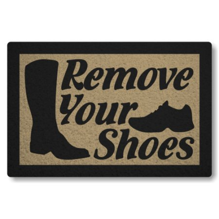 Tapete Capacho Remove Your Shoes - Bege