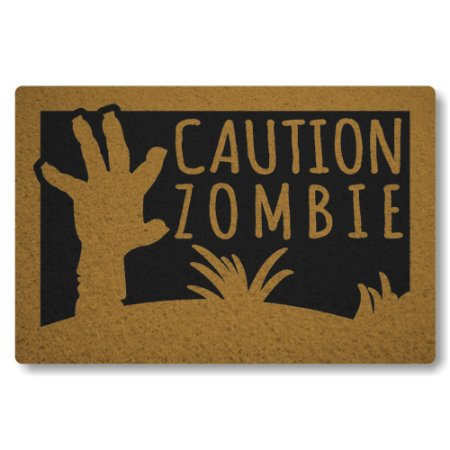 Tapete Capacho Caution Zombie - Preto