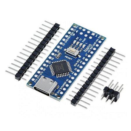 Arduino Nano V3.0 USB Tipo-C Pinos Não Soldado