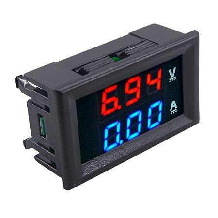 Voltímetro e Amperímetro Digital 100V DC 10A