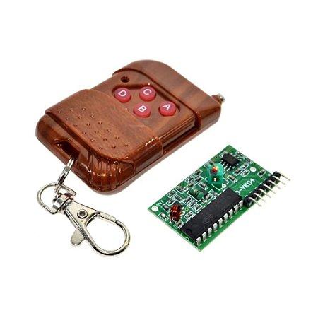 Kit Controle Remoto RF 4 canais + Receptor 433Mhz