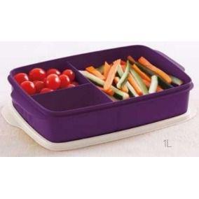 Tupperware Basic Line Com Divisórias Roxa Púrpura 1 litro