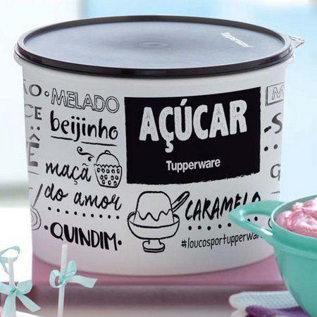 Tupperware Caixa Açúcar PB Fun 4,6kg Preto e Branco