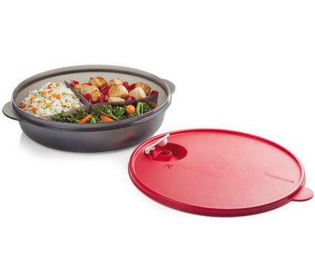 Tupperware Cristalwave 1,4 Litro Preta e Vermelha Com Divisórias