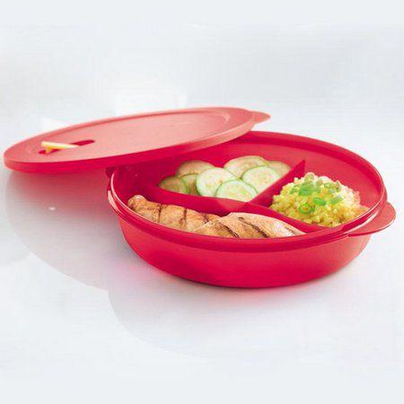 Tupperware Cristalwave com Divisórias 1,4 litro Geração II Vermelha