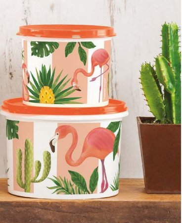 Tupperware Kit Tupper Redondinha Flamingo 500 ml + Tupper Caixa Flamingo 1,1litro