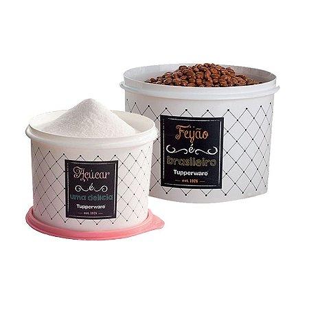 Tuppeware Conjunto com 2 potes Feijão 2,0 Kg e Açúcar 1,4 Kg