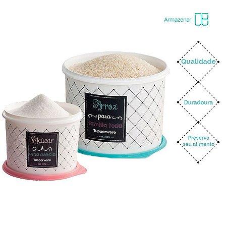 Tuppeware Conjunto com 2 potes Arroz 5Kg e Açúcar 1,4Kg