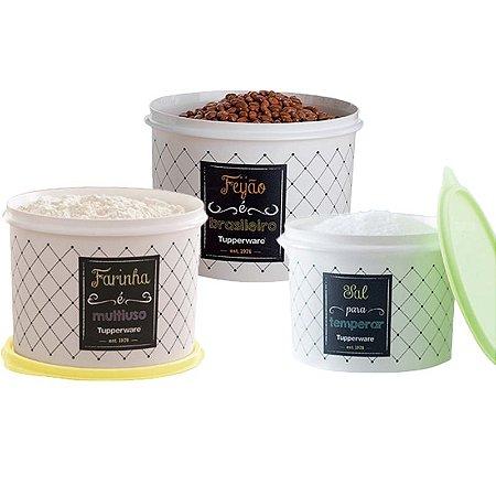 Tupperware Conjunto Com 3 Potes Feijão 2,0Kg Farinha 1,8Kg e Sal 1,3Kg