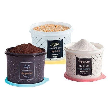 Tupperware Conjunto Com 3 Potes Milho 2Kg Café 700g e Açúcar 1,4Kg