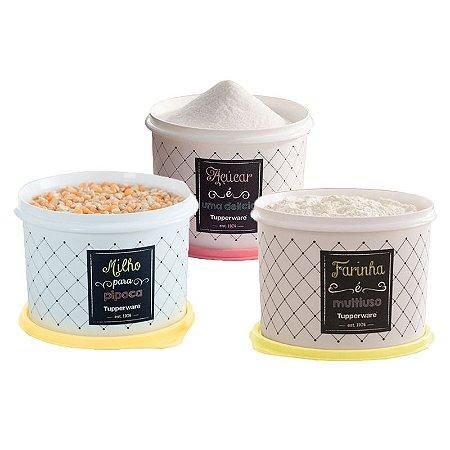 Tupperware Conjunto com 3 potes Açúcar 1,4Kg, Milho 2,0Kg e Farinha 1,8Kg