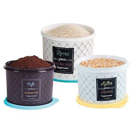 Tupperware Conjunto com 3 potes Arroz 5,0Kg, Café 700g e Milho 2,0Kg