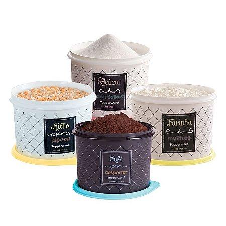 Tupperware Conjunto Com 4 Potes Café 700g Açúcar 1,4Kg Milho 2,0Kg e Farinha 1,8Kg