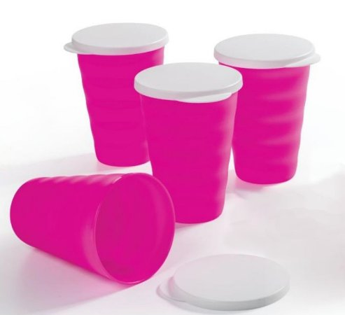 Tupperware Kit 4 Copos Murano Rosa Neon