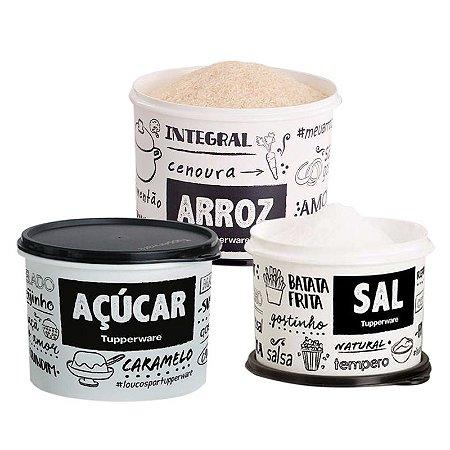 Kit Mantimento 3 Potes PB FUN Tupperware Arroz, Sal, Açúcar