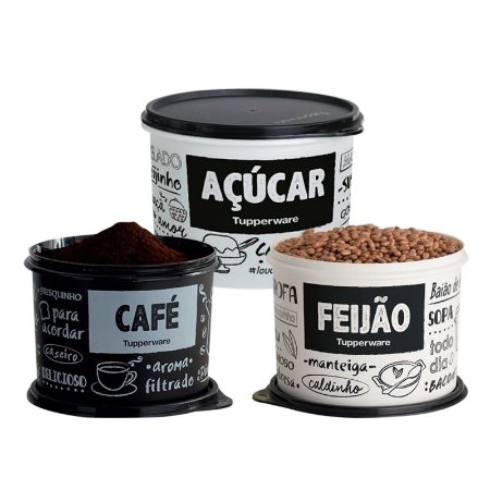 Kit Mantimento 3 Potes PB FUN Tupperware Café, Açúcar,Feijão
