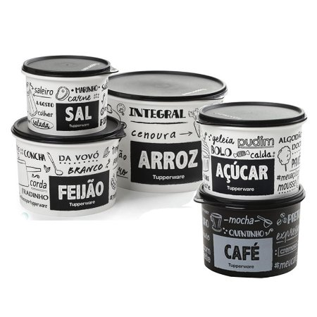Kit Tupperware 5 potes PB FUN Sal, Café, Açúcar, Feijão, Arroz