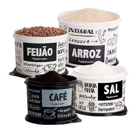 Tupperware Conjunto 4 potes PB FUN Café, Arroz, Feijão e Sal