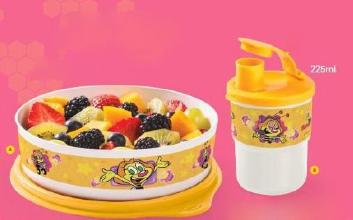 Tupperware Conjunto Tupperware Tupper Pratinho Zuzu 500 ml + Tupperware Copo Com Bico Colors 225 ml