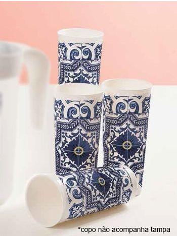 Tupperware Conjunto com 4 Copos Azulejos 470 ml
