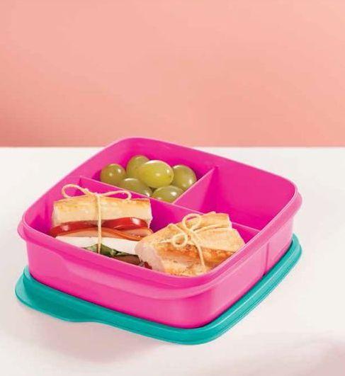 Tupperware Basic Line com Divisórias Rosa Neon Paradise 550 ml