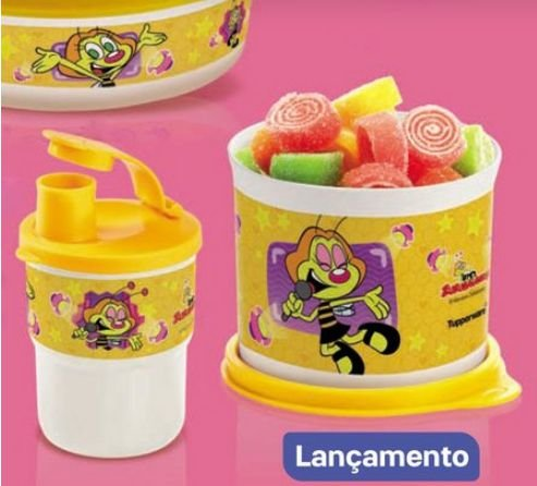 Tupperware Copo Colors com Bico Zuzubalândia 225 ml + Redondinha Zuzubalândia 500 ml