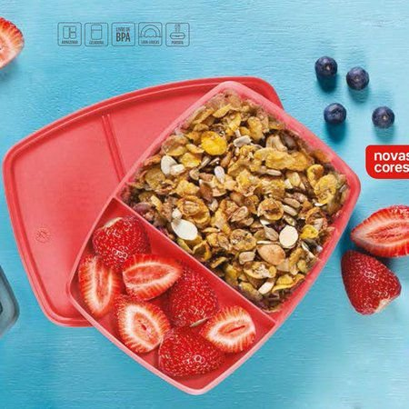 Tupperware Refri Box com divisórias 380 ml Goiaba