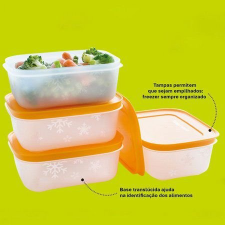 Tupperware Conjunto com 4 Freezer Line 450 ml