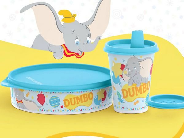 Tupperware Copo com Bico 200 ml + Tupper Pratinho 500 ml Dumbo