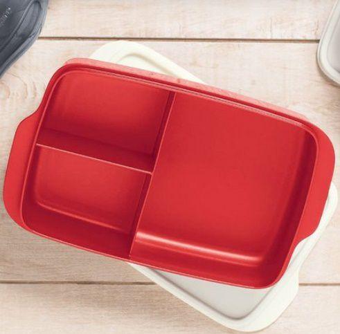 Tupperware Basic Line com Divisórias 1 L Vermelho