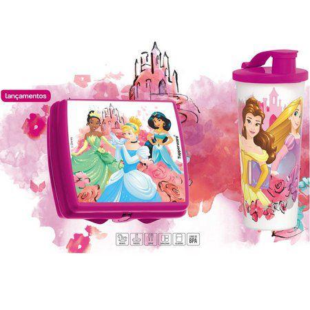 Tupperware Porta Sanduíche Princesas + Copo com Bico Princesas 470 ml