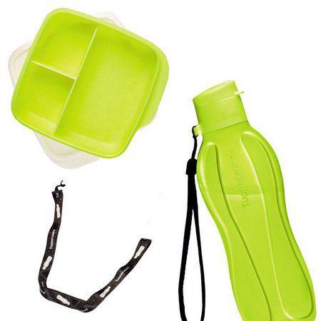 Tupperware Basic Line com Divisórias 550 ml Amarelo Neon + Tupperware Eco Tupper 500 ml Amarelo Neon + Mega Cordão Eco