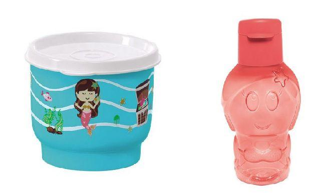 Tupperware Potinho Sereia 140 ml + Tupperware Eco Kids Sereia 350 ml