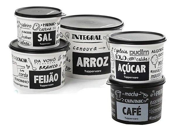 Oferta - Kit Tupperware 5 potes PB FUN Sal, Café, Açúcar, Feijão, Arroz