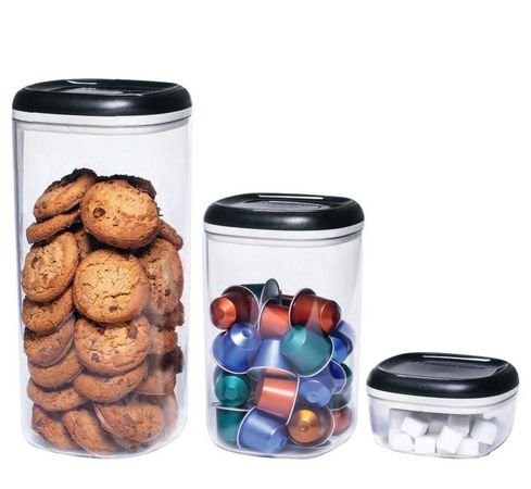 Tupperware Kit com 3 Potes Clear Transparente Tampa Preta