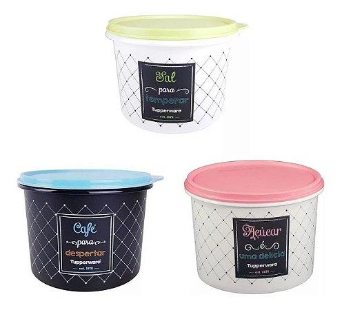 Tupperware Kit com 3 Potes Bistrô  Açúcar,Café e Sal