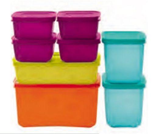 Tupperware Kit com 8 peças Colorido Freezer Line