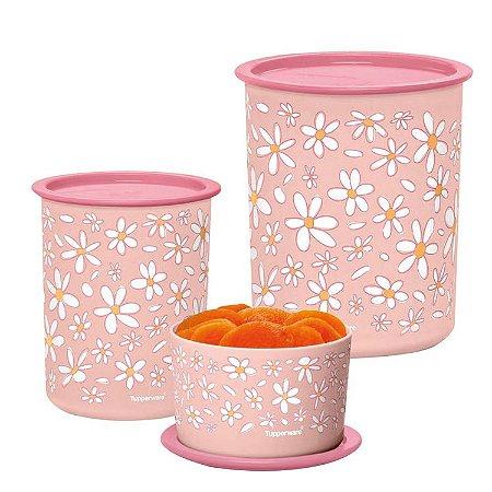 Tupperware Kit com 3 Potes Instantânea Slim Rosa