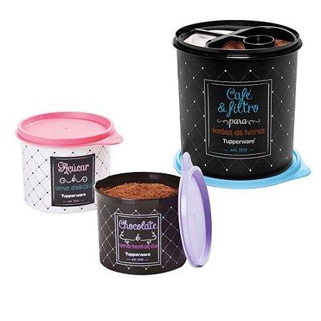 Tupperware Kit com 3 Peças Bistrô Redondinhas Açúcar e Chocolate + Café & Filtro