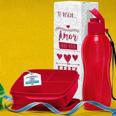 Tupperware Kit Garrafa Eco Tupper e Basic Line Vermelho