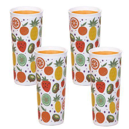 Tupperware Kit com 4 Copos Frutas 470ml