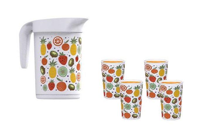 Tupperware Kit Ilúmina Frutas com Jarra e Copos