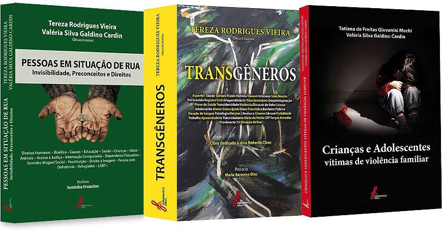 3 Livros - Pessoas em Situação de Rua, Transgêneros e Crianças e Adolescentes vítimas de violência familiar
