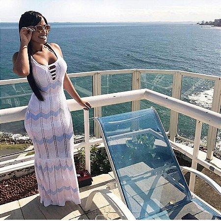 aab7853020 Vestido Longo Tricot Azul e Rosa - Nina Pimenta- Vestidos Longos e ...