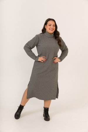 Vestido Malha Canelada Manga Longa Mescla
