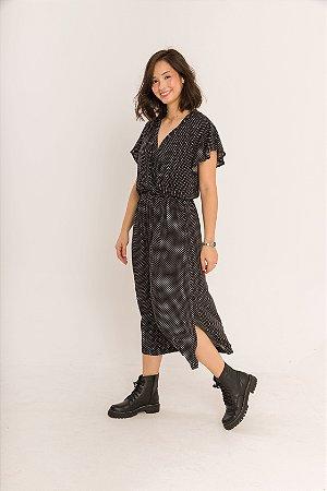 Vestido Transpassado com Bolsos Mayumi Mini Poá