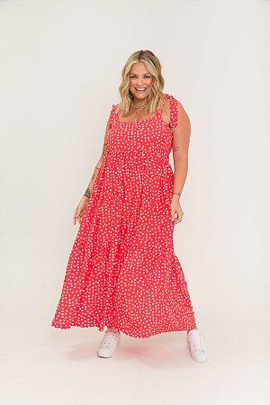 Vestido Dona Zeli Alças de Amarrar Poá Vermelho