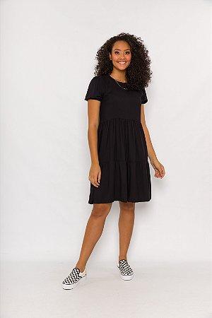 Vestido Ária Curto Preto Liso