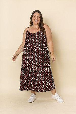Vestido Ramona Alças Mini Floral Preto