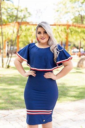 4f8babfd8 Vestido Tubinho Marinho Babado Com Faixas Naúticas - Moda Feminina